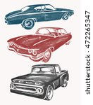 Watercolor Retro Cars Set....