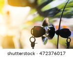 selective focus car keys left... | Shutterstock . vector #472376017