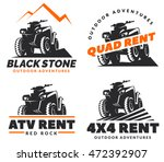 set of atv vehicle logo and...