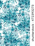teal and aqua floral... | Shutterstock . vector #472393273