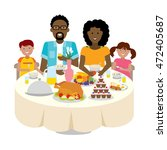 happy multicultural family... | Shutterstock . vector #472405687