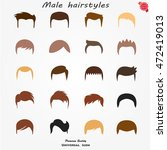 set different man hairs styling | Shutterstock .eps vector #472419013