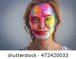 beautiful girl and paint on the ... | Shutterstock . vector #472420033