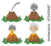 set of volcano eruption... | Shutterstock . vector #472420687