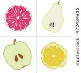 set of fresh hand drawn fruits... | Shutterstock .eps vector #472434613