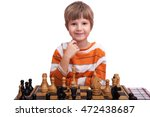 Cute Little Child Playing Chess