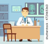 doctor sitting at the table in... | Shutterstock .eps vector #472465363