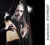 Irish Harp Player. Musician...