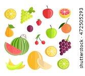 set of fruits. flat design... | Shutterstock . vector #472505293