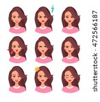 woman face with different... | Shutterstock .eps vector #472566187