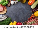 vegetables  fish  meat and... | Shutterstock . vector #472568197
