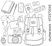 vector sketch travel set.... | Shutterstock .eps vector #472573243