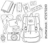 vector sketch travel set....   Shutterstock .eps vector #472573243