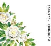 watercolor floral corner... | Shutterstock . vector #472575913