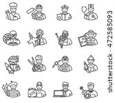 professions icons set. thin... | Shutterstock .eps vector #472585093