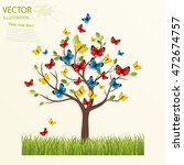 Butterfly On The Tree. Vector...