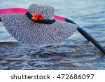 Beach Hat Black And White With...