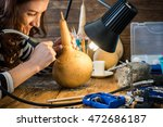 young woman skilled artisan in... | Shutterstock . vector #472686187