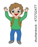 happy young pupil  boy with... | Shutterstock .eps vector #472732477