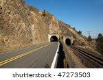 a highway tunnel cutting... | Shutterstock . vector #47273503