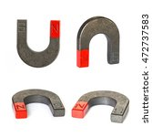 Small photo of Set of U shape steel magnet on white background