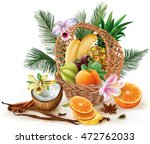 basket with tropical fruits and ... | Shutterstock .eps vector #472762033