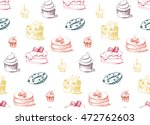 tasty cakes seamless pattern.... | Shutterstock .eps vector #472762603
