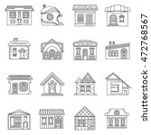 house set in outline style.... | Shutterstock .eps vector #472768567