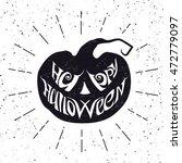 happy halloween card with... | Shutterstock .eps vector #472779097
