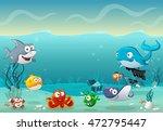 cartoon fish under the sea.... | Shutterstock .eps vector #472795447