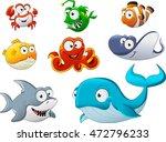 group of cartoon underwater... | Shutterstock .eps vector #472796233