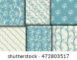 set of 6 floral seamless... | Shutterstock .eps vector #472803517
