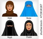 muslim women in traditional... | Shutterstock .eps vector #472818187