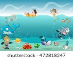 kids wearing scuba diving suit... | Shutterstock .eps vector #472818247