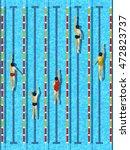 top view swimming pool  aquatic ... | Shutterstock .eps vector #472823737