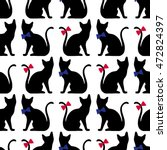 Seamless Pattern With Black Ca...