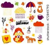 autumn vector isolated elements ... | Shutterstock .eps vector #472845793