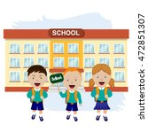 happy pupils in front of the