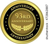 ninety third anniversary gold... | Shutterstock .eps vector #472862887