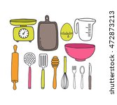 doodle icons. kitchen... | Shutterstock .eps vector #472873213