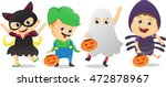 happy children in halloween... | Shutterstock . vector #472878967