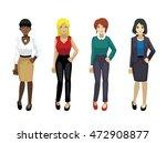 manga elegant woman poses set 1   Shutterstock .eps vector #472908877