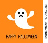 funny flying ghost. sad face.... | Shutterstock .eps vector #472952803