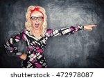 angry screaming retro teacher... | Shutterstock . vector #472978087