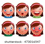 young girl kid avatar facial... | Shutterstock .eps vector #473016547