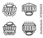 set of sport rugby logo. black...   Shutterstock .eps vector #473024023