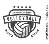 sport volley logo. black and... | Shutterstock .eps vector #473024113