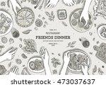 family dinner top view... | Shutterstock .eps vector #473037637