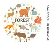 vector concept with forest... | Shutterstock .eps vector #473037997