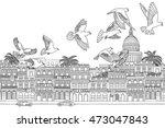 havana  cuba   hand drawn black ... | Shutterstock .eps vector #473047843